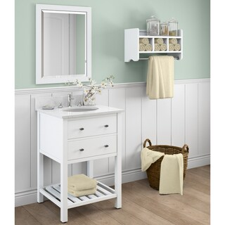 Harrison Marble Sink White 24-in Bathroom Vanity with Storage Shelf and Mirror Set