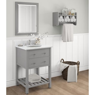 Harrison Marble Sink Grey 24-in Bathroom Vanity with Storage Shelf and Mirror Set
