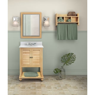 Tahiti Marble Sink Beige 25-in Bathroom Vanity with Storage Shelf and Mirror Set