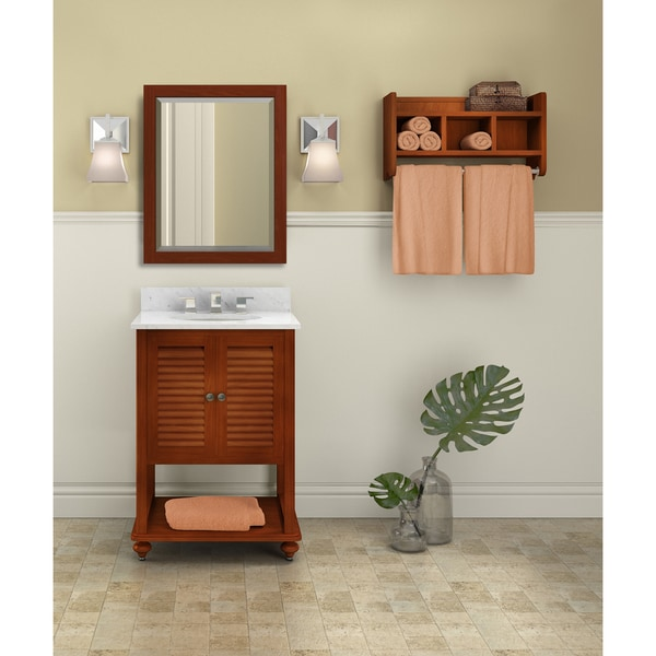 Tahiti Marble Sink Chestnut 25-in Bathroom Vanity with Storage Shelf and Mirror Set