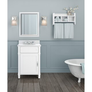 Williamsburg Marble Sink White 24-in Bathroom Vanity with Storage Shelf and Mirror Set