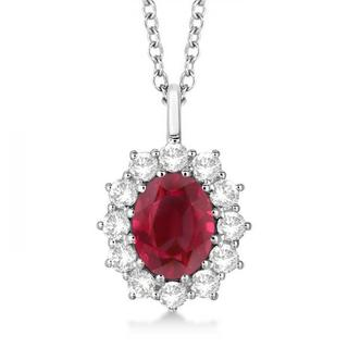 14k Gold 3.60ctw Oval Ruby and Diamond Pendant Necklace
