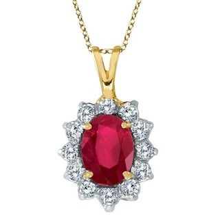 14k Gold 1.80ctw Ruby & Diamond Accented Pendant Necklace