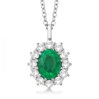 14k Gold 3.60ctw Oval Emerald and Diamond Pendant Necklace