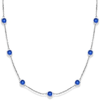 14k Gold 2.25ct Blue Sapphires Gemstones by The Yard Necklace