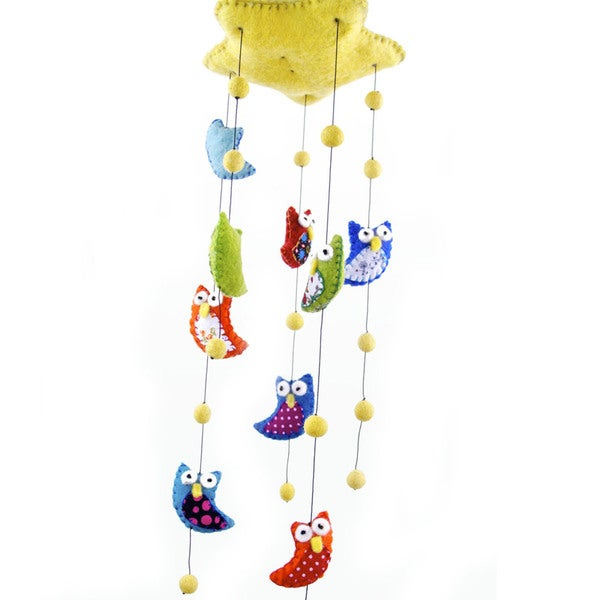 Handmade Felt Owl Mobile - Brights - Global Groove (Nepal)
