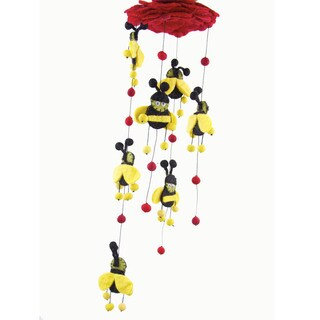Handmade Red Felt Bumble Bee Mobile - Global Groove (Nepal)