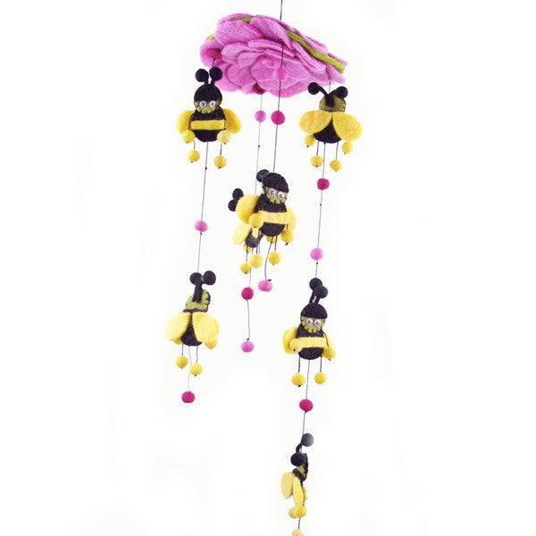 Handmade Pink Felt Bumble Bee Mobile - Global Groove (Nepal)