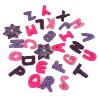 Handmade Pink Felt Alphabet Wall Hanging - Global Groove (Nepal)