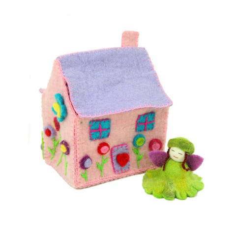 Handmade Felted Tiny Dream House with Flower Fairy (Nepal)