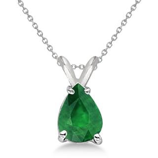 14k Gold 0.75ct Pear Cut Emerald Solitaire Pendant Necklace