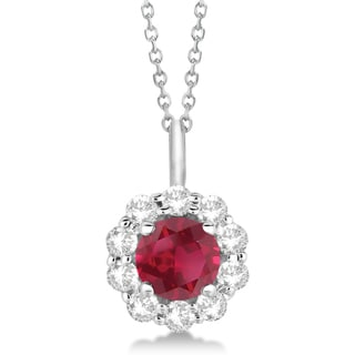 14k Gold 1.69ct Halo Diamond and Ruby Pendant Necklace