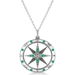 14k Gold 0.19ct Compass Pendant Emerald & Diamond Accented