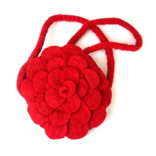 Handmade Felt Red Rose Purse - Global Groove (Nepal)