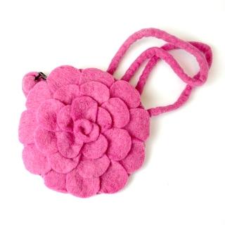 Handmade Felt Pink Rose Purse - Global Groove (Nepal)