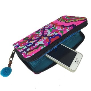 Hand Embroidered Turquoise Blossom Zippered Wallet - Global Groove (Thailand)