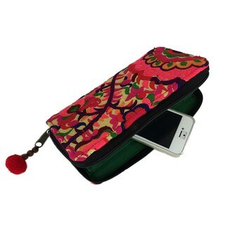 Hand Embroidered Orange Blossom Zippered Wallet - Global Groove (Thailand)