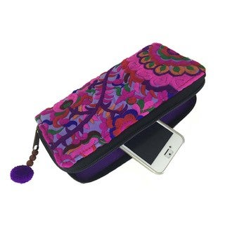 Hand Embroidered Purple Blossom Zippered Wallet - Global Groove (Thailand)