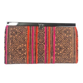 Handmade Hand Batiked Earth Hmong Clutch - Global Groove (Thailand)