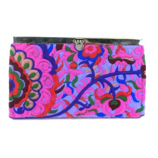 Hand Embroidered Purple Blossom Clutch - Global Groove (Thailand)
