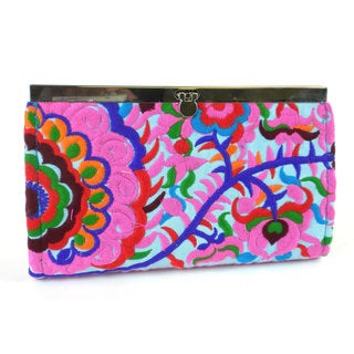Hand Embroidered Turquoise Blossom Clutch - Global Groove (Thailand)