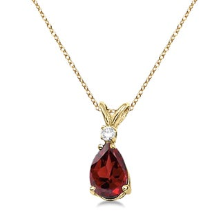 14k Gold Pear Garnet and Diamond Solitaire Pendant Necklace