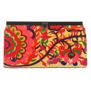 Hand Embroidered Orange Blossom Clutch - Global Groove (Thailand)