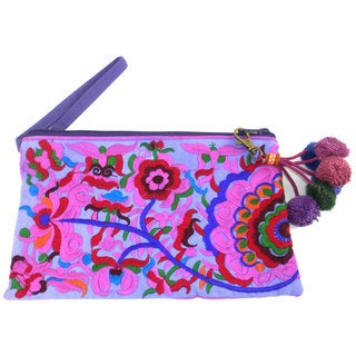 Hand Embroidered Double Sided Purple Groovy Grab n' Go Clutch - Global Groove (Thailand)