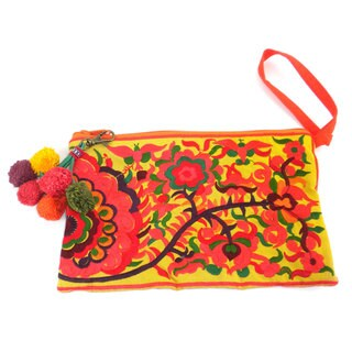 Hand Embroidered Double Sided Orange Groovy Grab n' Go Clutch - Global Groove (Thailand)