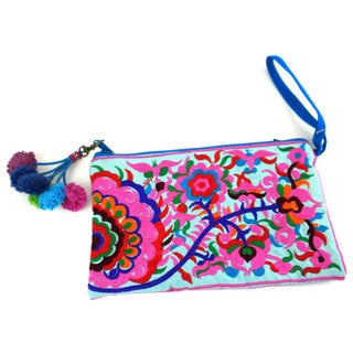 Hand Embroidered Double Sided Turquoise Groovy Grab n' Go Clutch - Global Groove (Thailand)