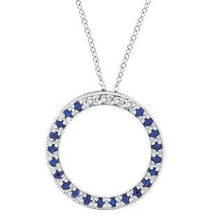 14k Gold Diamond & Blue Sapphire Circle Pendant Necklace