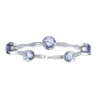Silver Overlay 11 1/2ct TGW 5 Stone Round Amethyst Wave Bangle