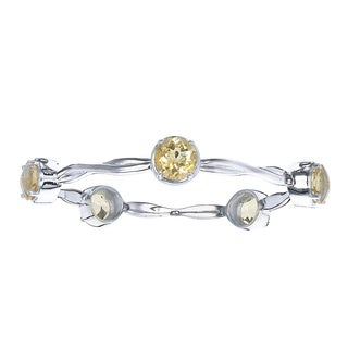 Silver Overlay 11 1/2ct TGW 5 Stone Round Citrine Wave Bangle