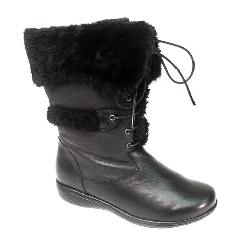 FIC PEERAGE Women's Carly Black Nappa Leather Extra Wide Width Mid-calf Boots