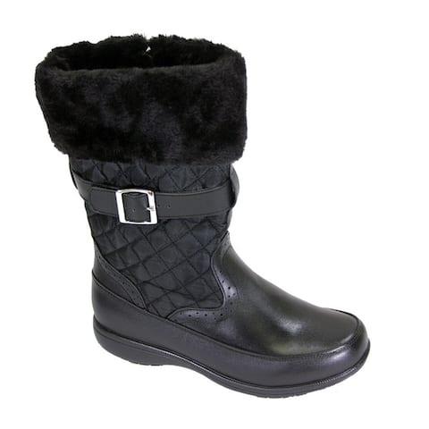 FIC PEERAGE Leila Women's Extra Wide Width Black Leather and Nylon Fleece Boot