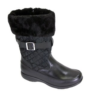 FIC PEERAGE Leila Women's Extra Wide Width Black Leather and Nylon Fleece Boot