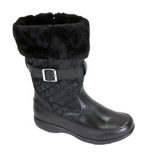 2c6382a8c82f FIC PEERAGE Leila Women s Extra Wide Width Black Leather and Nylon Fleece  Boot