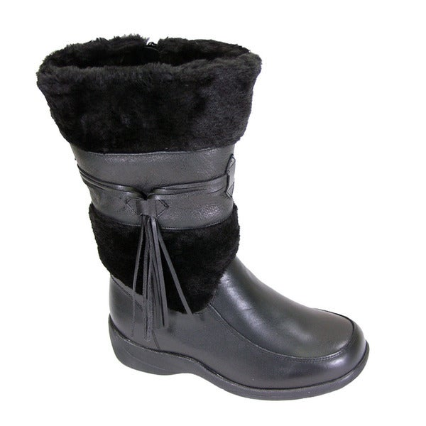 FIC Peerage Bianca Women's Extra Wide Width Black Nappa-leather Fleece-collared Dress Boot
