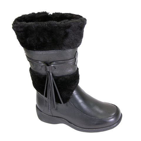 FIC Peerage Bianca Womens Extra Wide Width Black Nappa-leather Fleece-collared Dress Boot