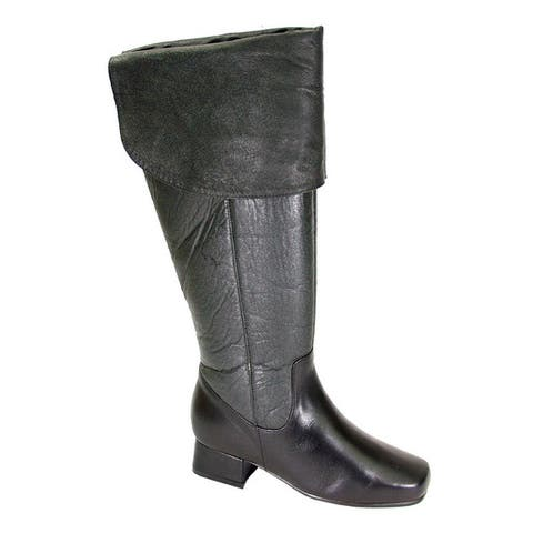 FIC PEERAGE Mira Womens Extra Wide Width Black Nappa Leather Knee-high Dress Boots