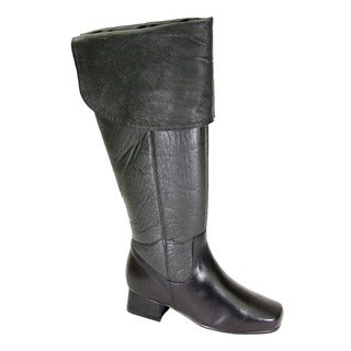 FIC PEERAGE Mira Women's Extra Wide Width Black Nappa Leather Knee-high Dress Boots
