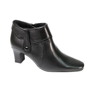 FIC Peerage Blair Women's Black Leather Fur-lined Extra-wide-width Ankle Boots