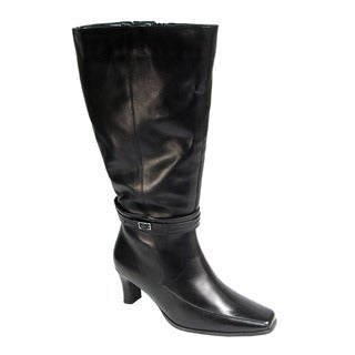 Fic Peerage Women's Brook Black Nappa Leather Extra-wide Knee-high Boots