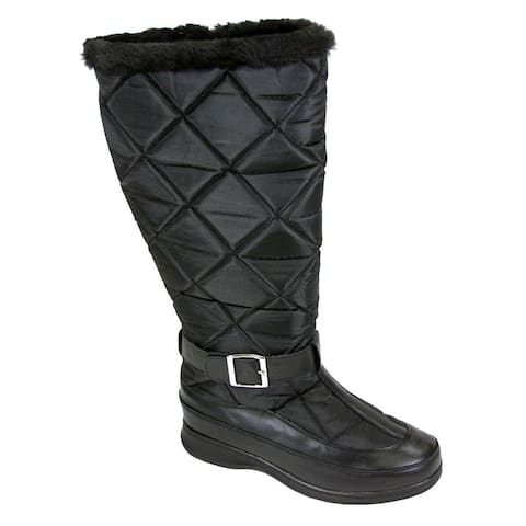 FIC Peerage Tammy Women's Black Leather and Nylon Fleece Extra-wide-width Knee-high Boots