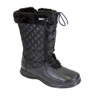 FIC Peearage Gabby Women's Leather and Nylon Extra-wide-width Adjustable Lace/Zipper Boot