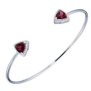 Silver Overlay 1 7/8ct TGW Trillion Shape Garnet and Diamond Accent Cuff Bangle