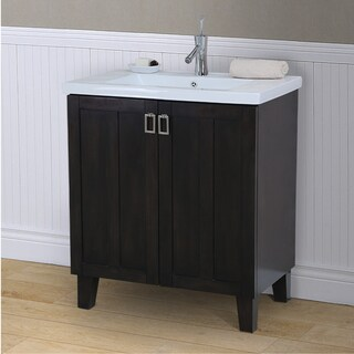 Single Sink Bathroom Vanity in Dark Brown Finish 30-inch Extra thick Ceramic Sink-top