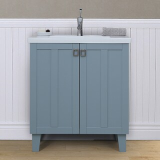 30 inch Extra thick Ceramic Sink-top Single Sink Bathroom Vanity in Grey Blue Finish