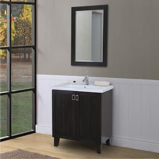 30 inch extra thick ceramic sink top single sink bathroom vanity in dark brown finish - Bathroom Sink And Mirror