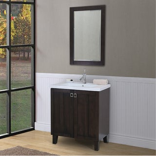 Bathroom Vanity and Framed Wall Mirror Set in Brown Finish with Ceramic Sink-top